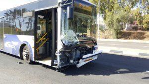 האוטובוס שהיה מעורב בתאונה